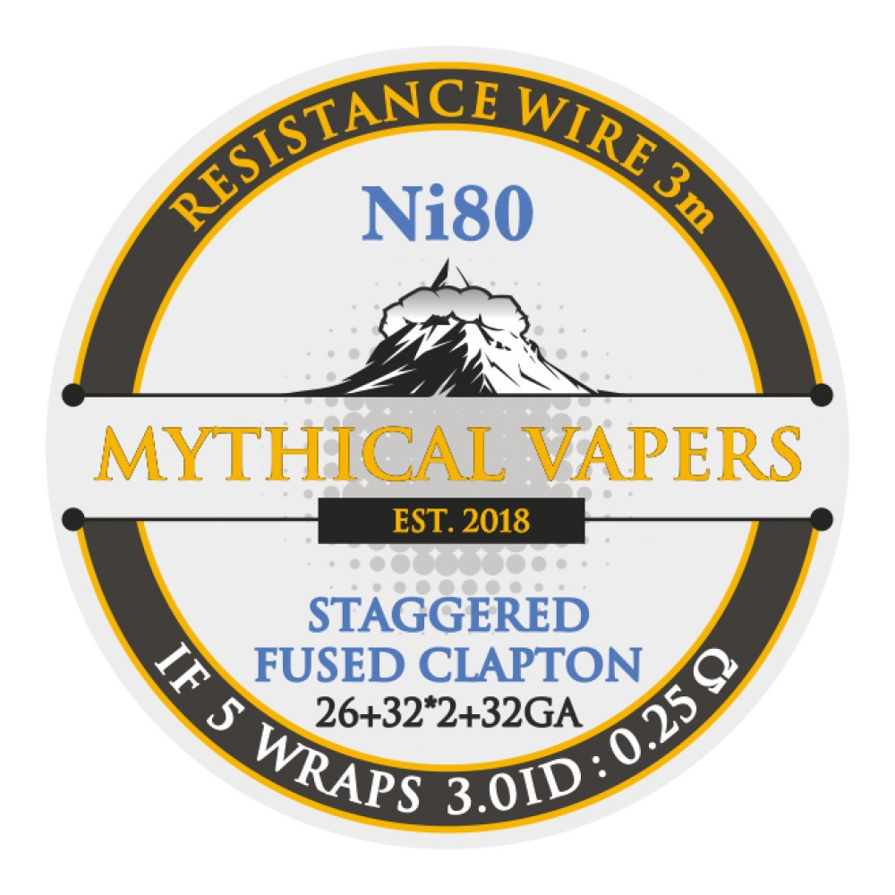 Mythical Vapers Staggered Fused Clapton 3m ni80 - Vaping Services